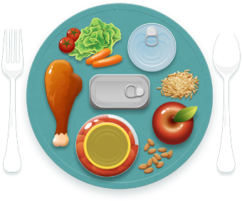 Illustration of food-covered plate